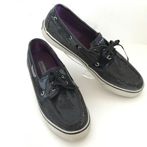 Sperry Top Sider Black Sequins Boat Shoes 9